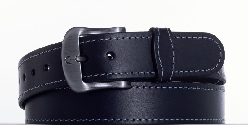 Kožené opasky - Kožený opasek černý 2052 obšitý