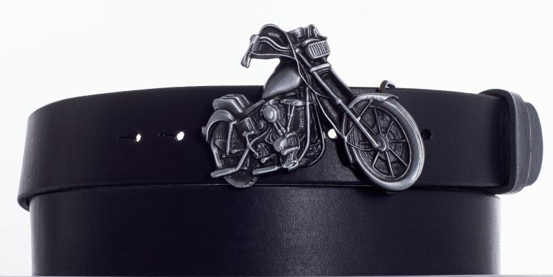 Kožené opasky - Černý opasek moto