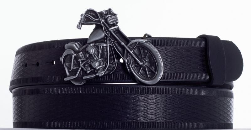 Kožené opasky - Černý opasek moto vr.