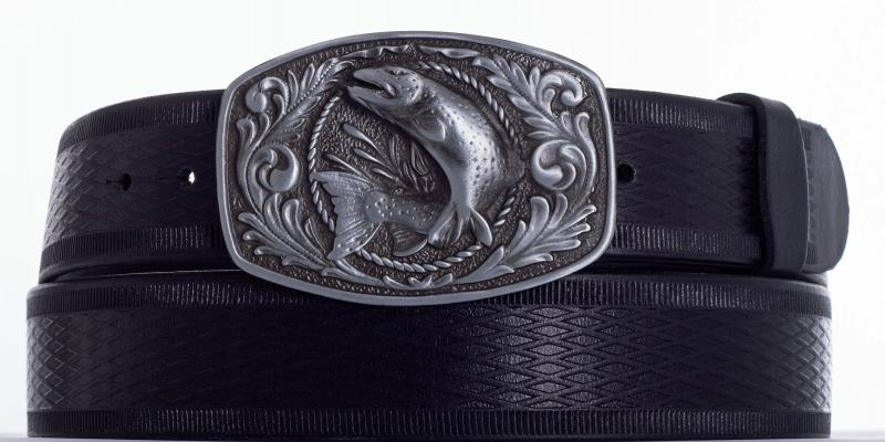 Kožené opasky - Kožený pásek ryba vroubek