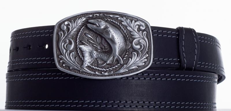 Kožené opasky - Kožený pásek ryba 2x prošitý š