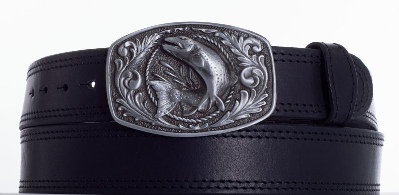 Kožené opasky - Kožený pásek ryba 2x prošitý č