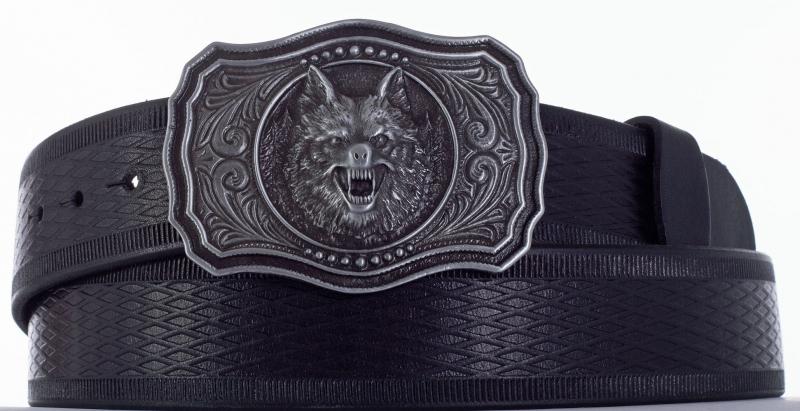 Kožené opasky - Opasek černý vlk vr.