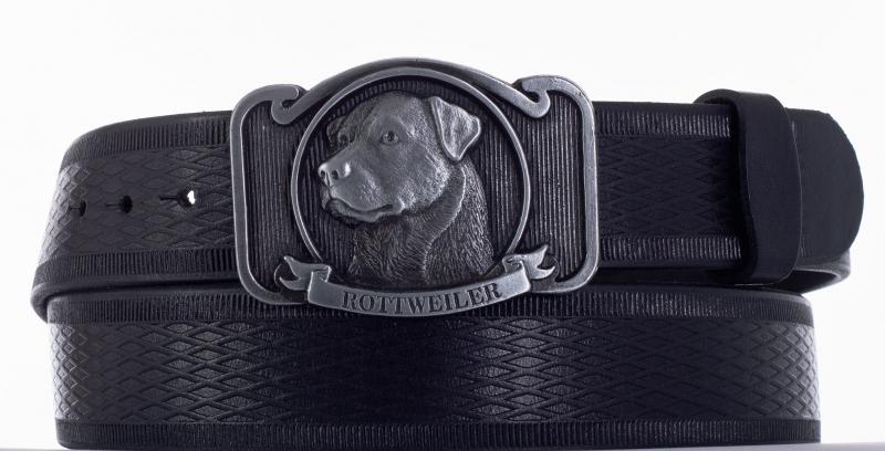 Kožené opasky - Kožený pásek rottweiler vroubek