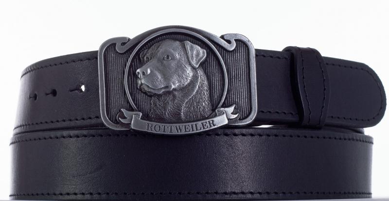Kožené opasky - Kožený pásek rottweiler prošitý