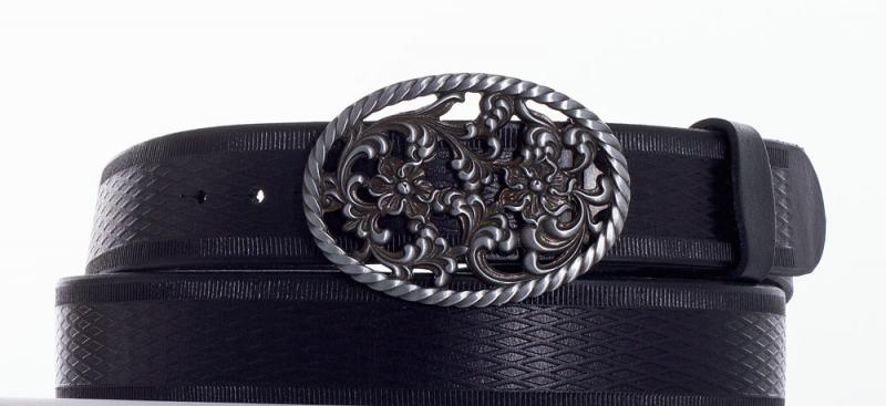Kožené opasky - Kožený pásek růže vroubek