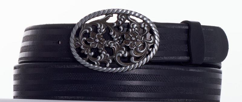 Kožené opasky - Kožený pásek růže proužek