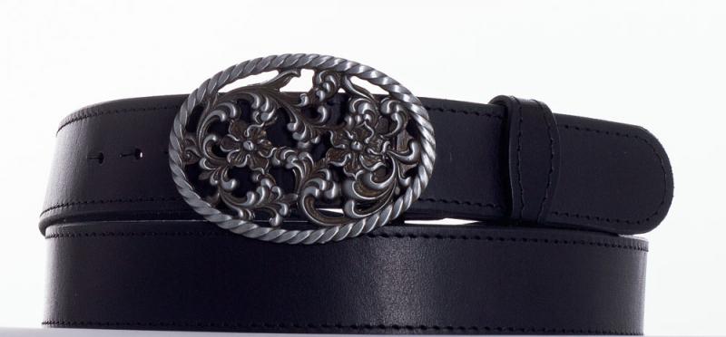 Kožené opasky - Černý kožený opasek růže čob.
