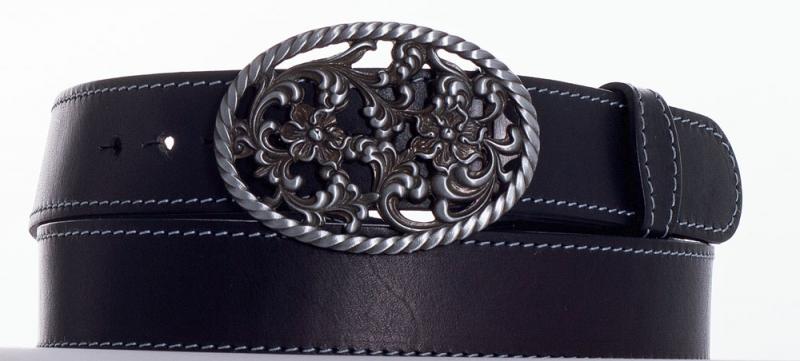 Kožené opasky - Černý kožený opasek růže šob.