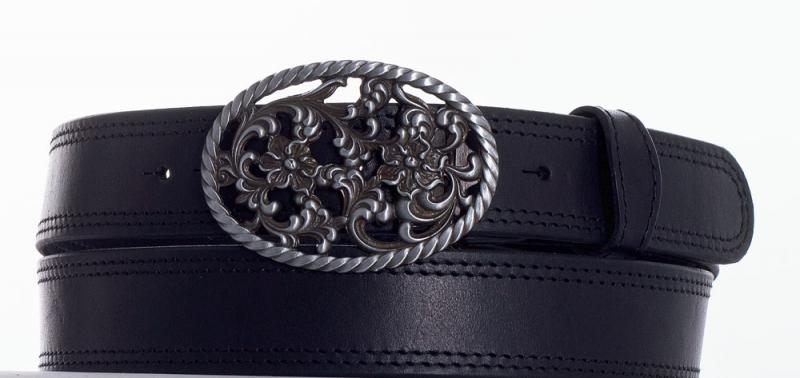 Kožené opasky - Černý kožený opasek růže č2ob.