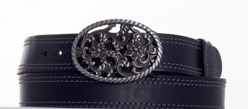 Kožené opasky - Černý kožený opasek růže š2ob.