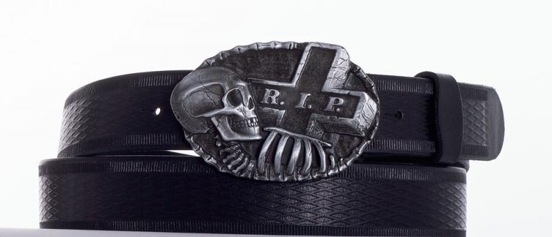Kožené opasky - Kožený opasek R.I.P. vroubek