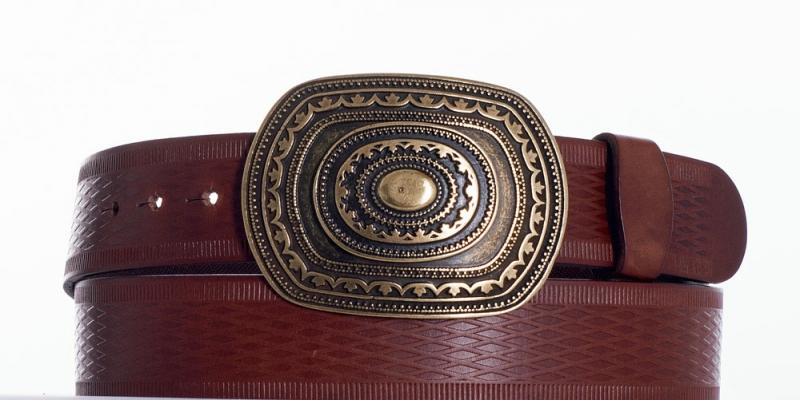 Kožené opasky - Pásek aztec vroubek
