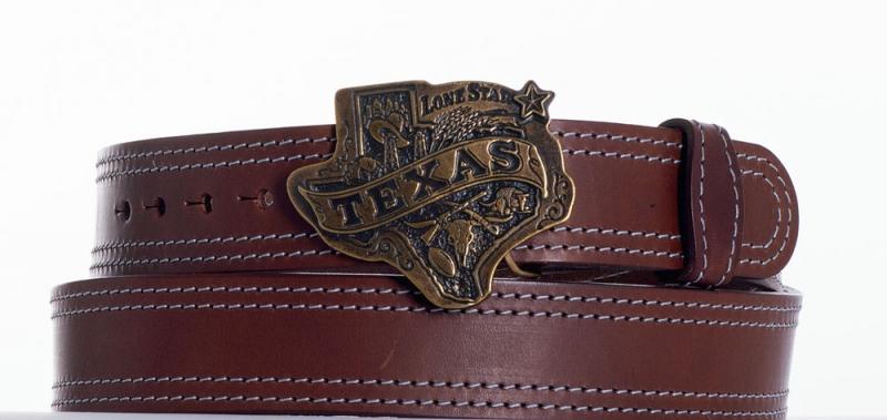 Kožené opasky - Hnědý opasek Texas ob2š