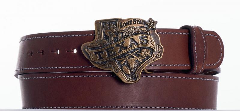 Kožené opasky - Hnědý opasek Texas obš
