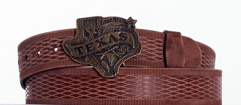 Kožené opasky - Hnědý opasek Texas vr.br.
