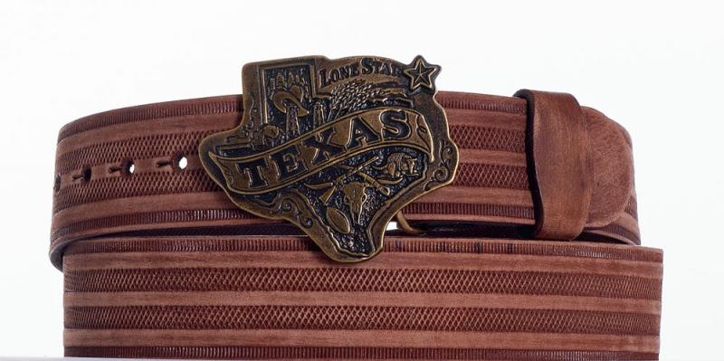Kožené opasky - Hnědý opasek Texas pr.br.