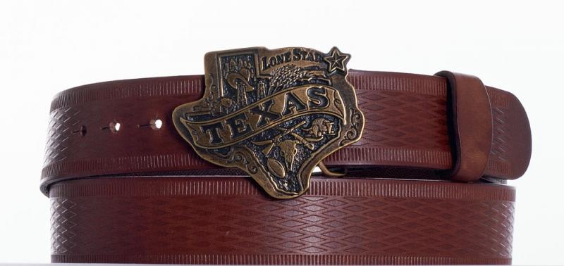 Kožené opasky - Hnědý opasek Texas vr.