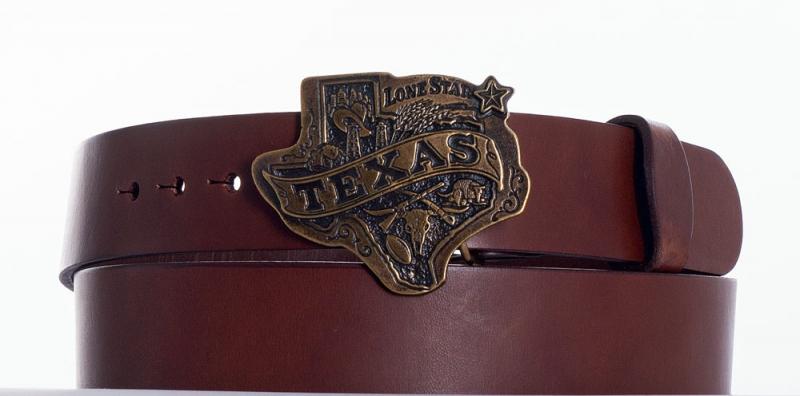 Kožené opasky - Hnědý opasek Texas