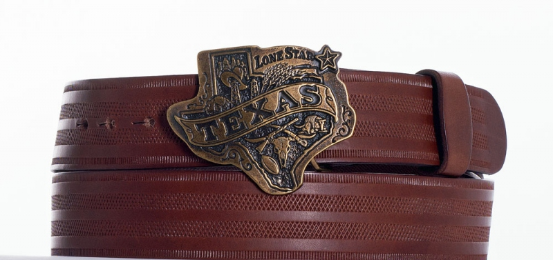 Kožené opasky - Hnědý opasek Texas pr.