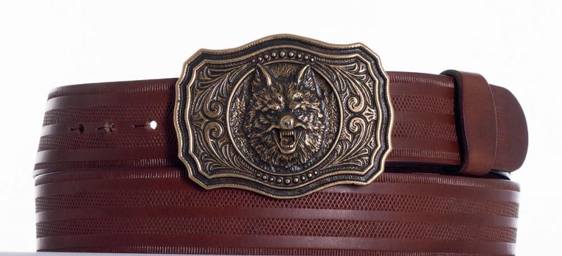 Kožené opasky - Kožený opasek vlk hn.proužek