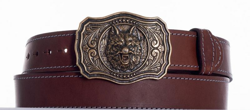 Kožené opasky - Kožený opasek vlk hn obš
