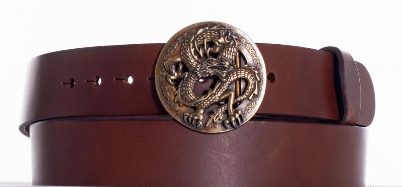 Kožené opasky - Hnědý kožený opasek drak
