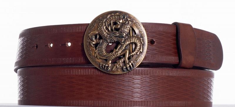 Kožené opasky - Hnědý kožený opasek drak vr