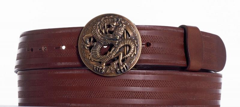 Kožené opasky - Hnědý kožený opasek drak pr