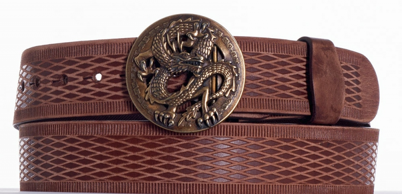Kožené opasky - Hnědý kožený opasek drak vrb