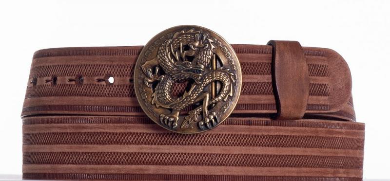 Kožené opasky - Hnědý kožený opasek drak prb