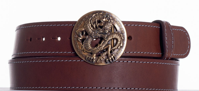 Kožené opasky - Hnědý kožený opasek drak obš