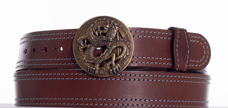 Kožené opasky - Hnědý kožený opasek drak ob2š