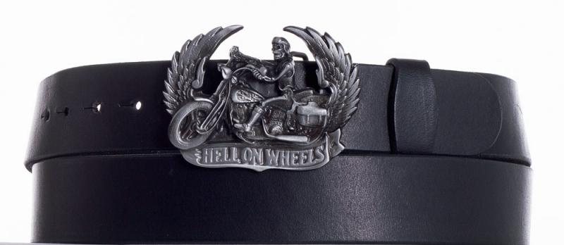 Kožené opasky - Kožený černý pásek Motorkář