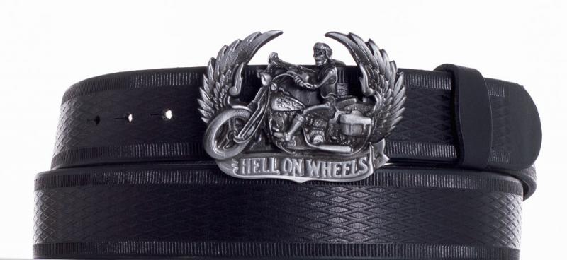 Kožené opasky - Kožený černý pásek Motorkář vr.