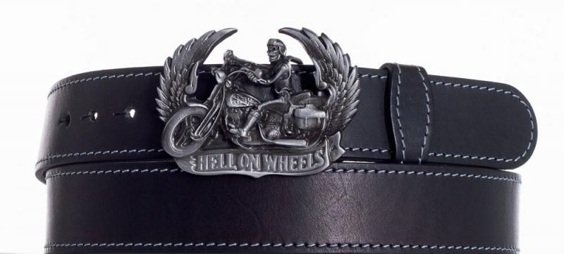Kožené opasky - Kožený černý pásek Motorkář obš.