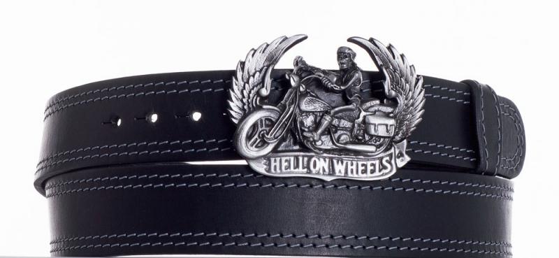 Kožené opasky - Kožený černý pásek Motorkář ob2š.
