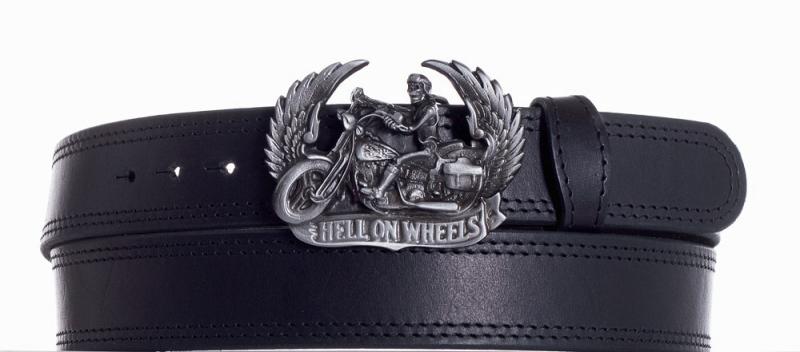 Kožené opasky - Kožený černý pásek Motorkář ob2č.