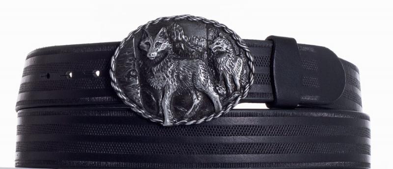 Kožené opasky - Kožený černý vzorovaný pásek vlci pr