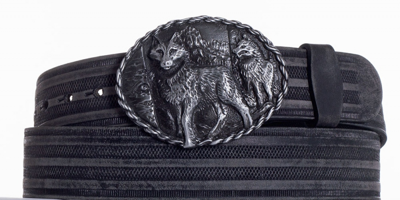Kožené opasky - Kožený černý vzorovaný pásek vlci prb