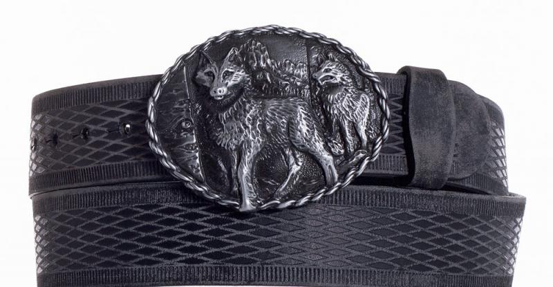 Kožené opasky - Kožený černý vzorovaný pásek vlci vrb