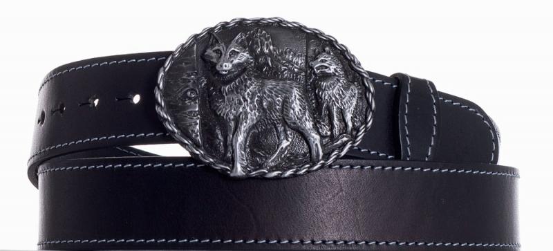 Kožené opasky - Kožený černý pásek vlci obš