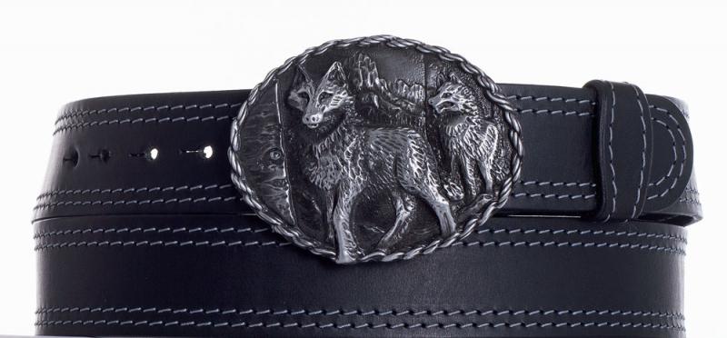 Kožené opasky - Kožený černý pásek vlci ob2š