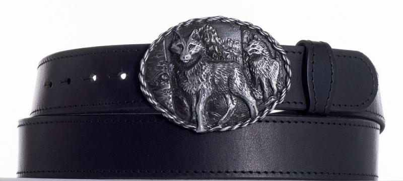 Kožené opasky - Kožený černý pásek vlci obč