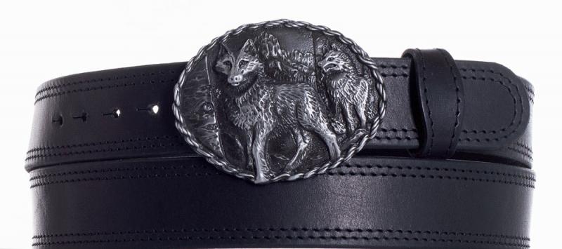 Kožené opasky - Kožený černý pásek vlci ob2č