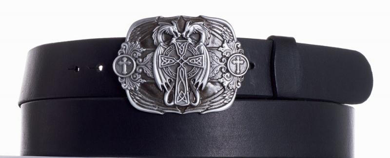 Kožené opasky - Kožený černý pásek draci