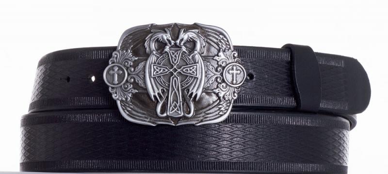 Kožené opasky - Kožený černý pásek draci vr.