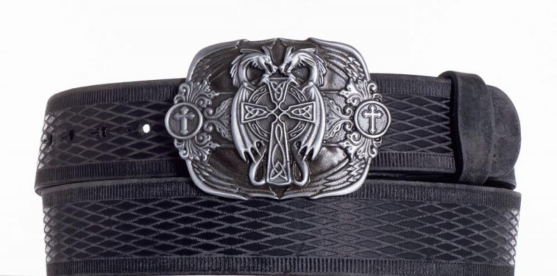 Kožené opasky - Kožený černý pásek draci vrb.