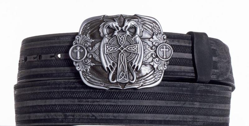 Kožené opasky - Kožený černý pásek draci prb.