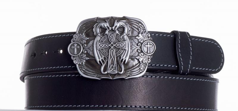 Kožené opasky - Kožený černý pásek draci obš